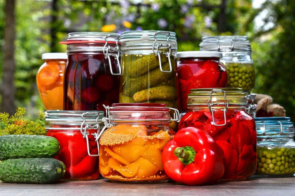 Conservation légumes dans bocaux